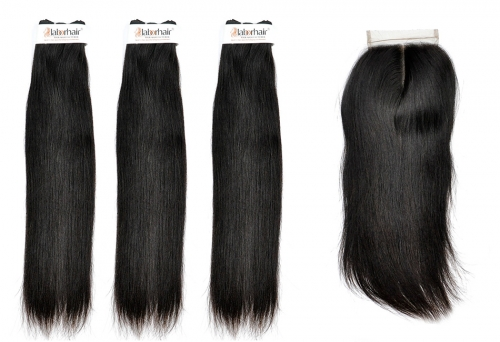 Grade 10A Straight Virgin Human Hair 3 Bundles With 4*4  Lace Closure