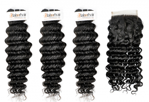 Grade 10A Deep Curl Virgin Human Hair 3 Bundles With 4*4  Lace Closure