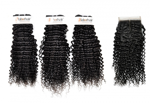 Grade 10A Kinky Curl Weave Virgin Human Hair 3 Bundles With 4*4  Lace Closure