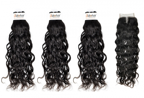 Grade 10A French Weave Virgin Human Hair 3 Bundles With 4*4  Lace Closure
