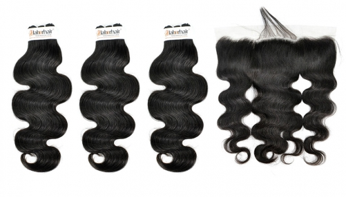 Grade 10A Body Wave Virgin Human Hair 3 Bundles With 1PC 13*4  Ear To Ear Lace Frontal
