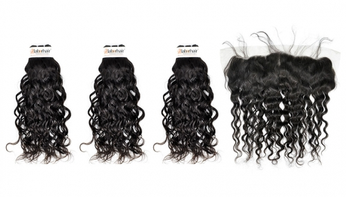 Grade 10A  French Wave Virgin Human Hair 3 Bundles With 1PC 13*4  Ear To Ear Lace Frontal