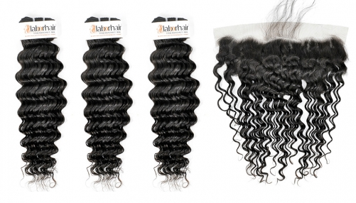 Grade 10A Deep Curly Virgin Human Hair 3 Bundles With 1PC 13*4  Ear To Ear Lace Frontal