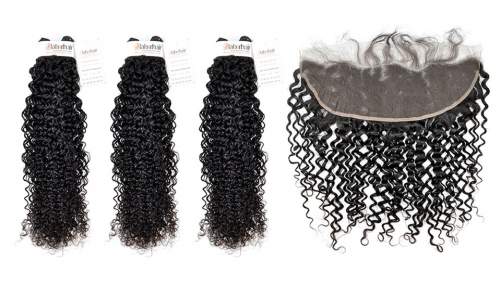 Grade 10A Curly Wave Virgin Human Hair 3 Bundles With 1PC 13*4  Ear To Ear Lace Frontal