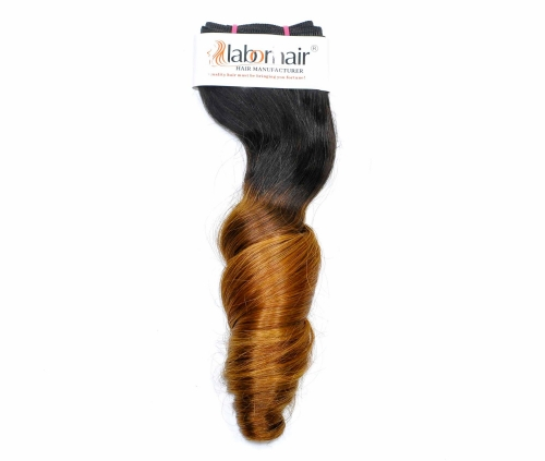 1 Bundle (100g) Grade 10A Virgin Human Hair Double Drawn Egg Curly Ombre 1B/27 Color Hair Unprocessed (Pure)