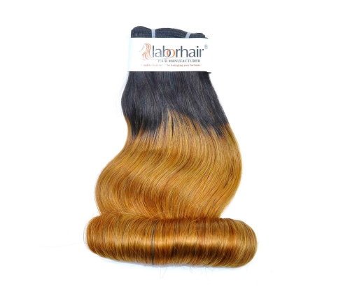 1 Bundle (100g) Grade 10A Virgin Human Hair Double Drawn Egg Curly Ombre-1B/30 Color Unprocessed (Pure)