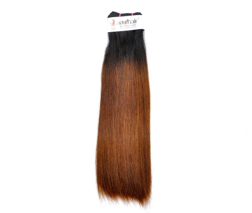 1 Bundle (100g) Grade 10A Virgin Human Hair Double Drawn Straight Ombre-1B/30 Color Human Hair Weft