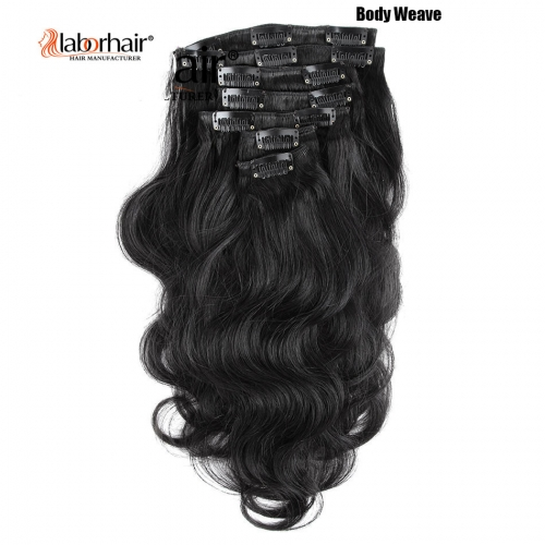 Laborhair Clip In Human Hair Extensions Virgin Hair Natural Color 7 Pieces/Set 120G