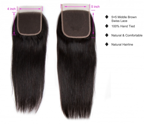 Laborhair 5x5 Straight Virgin Human Hair Lace Closure 150% Density