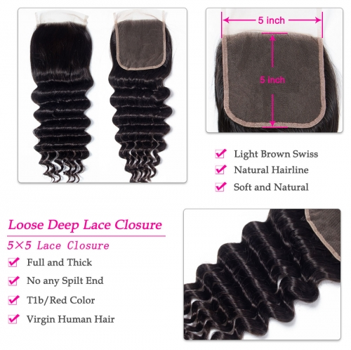 Laborhair 5x5 Deep Wave Virgin Human Hair Lace Closure 150% Density