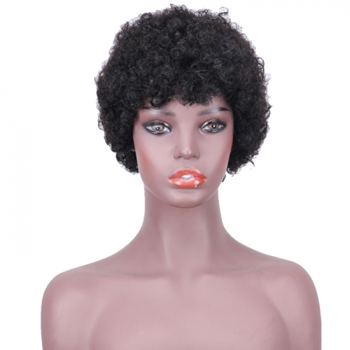 Laborhair-FSRH-9032 6 Inches Human Hair Wigs Hair Harlem Short  Curly BoBo Wig