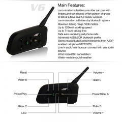 2 Sets Of V6-1200 Motorcycle Helmet Bluetooth Intercom Headset  Full-duplex / 1200M for 6 Riders / Bluetooth V3.0 (2 Pack)