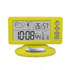 EstgoSZ Wireless Forecast Station with LCD Display Temperature,Humidity Hygrometer Thermomter, Alarm Clock Calender Snooze Function