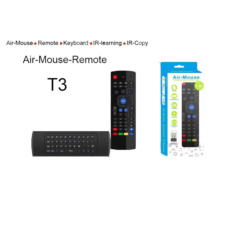 EstgoSZ T3 2 4Ghz Wireless Air Fly Mouse Keyboard With IR Remote Learning  Standar Keyboard Layout For Android Smart TV Box IPTV HTPC Mini PC