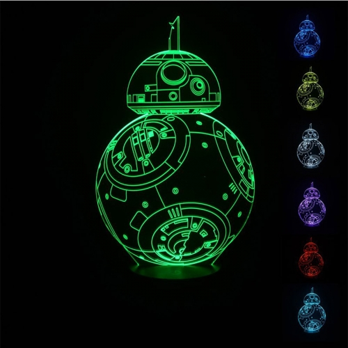 Padaday 3D Star Wars Force Awaken BB-8 Robot Droid Bedroom Children Room decorative Night multi 7 color change USB Touch button LED desk table lamp