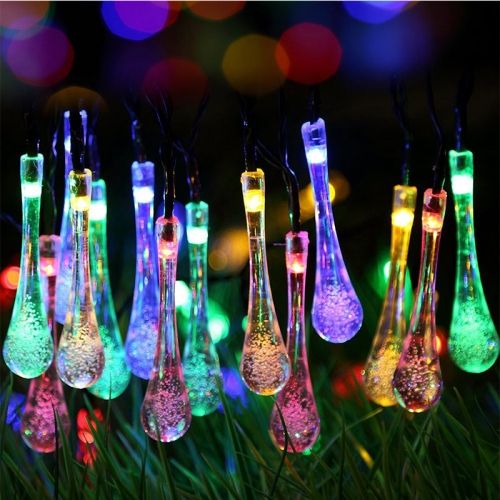 GDEALER Solar Outdoor String Lights 20ft 30 LED Warm White Water Drop Solar String Fairy Waterproof Lights, Patio, Yard, Home Parties (1)
