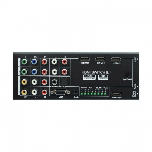 Riiai NK-H18 HDMI Audio Switch with 8 Inputs to 1 HDMI Output with Optical / Coaxial 5.1 Channel Support 3D & Surround Sound