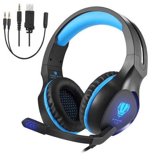 Stoon Noise Isolation Surround Sound Stereo Headset with Mic Wired Over Ear Gaming Headphones with LED Light New Xbox One, PS4, PC (Blue)