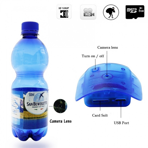 Water Bottle Camera,1080P HD Portable Plastic Drinking Water Bottle Hidden Spy Camera Super Covert