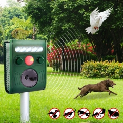 Garden Ultrasonic PIR Sensor Solar Animal Repeller Strong Flash Light Bird Repel