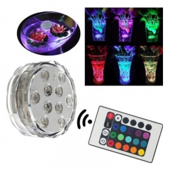 10LED RGB Colorful Submersible Waterproof Christmas Party Vase Base Light+Remote