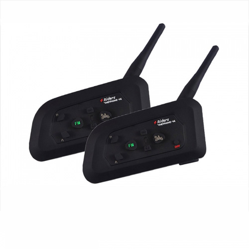 V4-1200 Interphone Bluetooth 3.0 Motorcycle Helmet Intercom Waterproof  Motorbike Headset 1200M For 4 Riders (2 Pack)