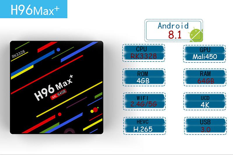 H96 Max plus RK3328 Android 8 1 TV Box,4GB RAM 64GB ROM,Quad-Core  Processor,H 265 /wifi2 4G/5G Smart TV Box,4K Ultra HD,with Mini Wireless  Backlit