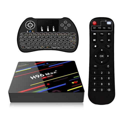 ESTGOUK H96 Max+ Android 8.1 TV Box,4GB RAM 32GB ROM,RK3328 Quad-Core Processor,H.265 /WiFi 2.4GHz Smart TV Box,4K Ultra HD,with Mini Wireless Backlit