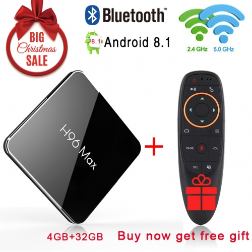 H96 max X2 Android 8.1 4GB+32GB 4K S905X2 Quad Core 2.4/5G WIFI USB3.0 Set Top TV box with Air Mouce