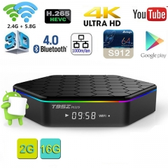 T95Z Plus Android TV BOX with 2GB RAM 16GB ROM Octa Core smart Set Top box supports 2.4G/5G 4K Dual Wifi 1000M LAN Bluetooth 4.0