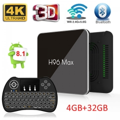 H96 max X2 4GB+32GB Android 8.1  4K Quad Core 2.4/5G WIFI USB3.0 Set Top TV box with H9 Wireless backlit keyboard