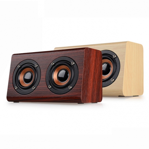 EStgoSZ W7 Wireless Bluetooth Speaker Portable Retro Wood Dual Loudspeaker 1500mAh Subwoofer 3.5mm USB Charging Speaker