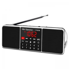 EStgoSZ Digital Radio AM/FM Dual Bluetooth Speakers Handsfree Call 3.5mm AUX Line-in MP3 Player