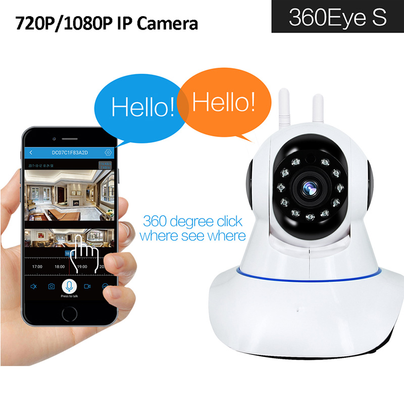 IP Camera 360 degree Wireless HD 720p/1080p CCTV Camera Wi-Fi Wireless  Network surveillance Night vision forensic camera Monitor Cam IR 10 Meters