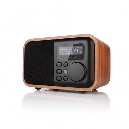 EStgoSZ Wood Radio Bluetooth Speaker With FM Support Alarm Clock Display Time Micro SD/TF Card USB Remote Controll MP3 Player