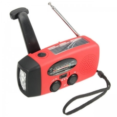 Emergency outdoor solar hand crank radio 3 LED flashlight flashlight old man AM FM radio charger