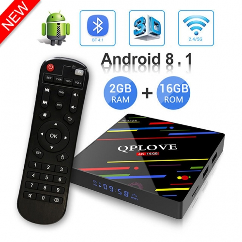 QPLOVE MAX Plus Android 8.1 Tv Box RAM 2 GB + 16 GB ROM Smart Set Top Box K18.1 RK3328 Quad-Core / 4K / 2.4/5GHz WiFi / USB 3.0 /Bluetooch/LED Display