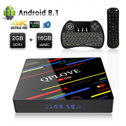 QPLOVE MAX Plus Android 8.1 Tv Box 2 GB + 16 GB Smart Set Top Box K18.1 RK3328 Quad-Core / 4K / 2.4/5GHz WiFi / USB 3.0 /Bluetooch/LED Display with H9
