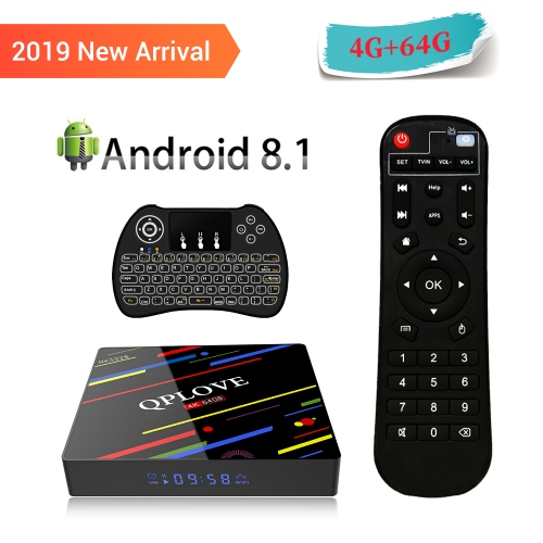 QPLOVE Android 8.1 TV box 4GB/64GB RAM USB3.0/WIFI 2.4G 5G ultre HD 4K  screen box with H9 Backlit keyboard