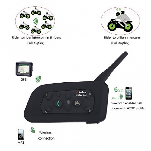 Motorcycle Intercom Bluetooth Helmet Headset V6 1200 Meter Full Duplex Real-Time Motorbike Wireless Headphone 6 Riders Bluetooth V3.0 (2 Pack)