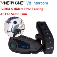 V8 1200M NFC Helmet Interphone 5 Riders Intercom Headset with Bluetooth3.0 / waterproof smart control Wireless communication FM/GPS/phone