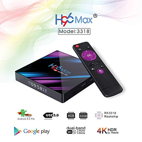 H96 Max 3318 Quad-core Android 9.0 4K 1080P TV Box Media Player 4G+32G/64G