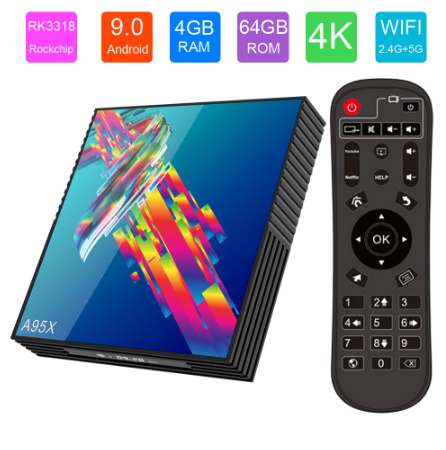 A95X 3318 Android 9.0 Rockchip RK3318 4GB 64GB Quad Core Smart Tv Box 2.4/ 5.8G BT4.2 WiFi 4K HDR Media Player