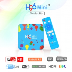 H96 Mini H6 Smart TV Box Android 9.0 4GB RAM 32G/128GB ROM, 6K H.265 Decoding, USB3.0, WiFi 2.4G/5G BT4.0 TV Box