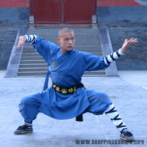 Blue Color Thick Cotton Blends Kung fu Shaolin Suit