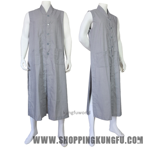 Shaolin Buddhist Monk Dress Kung fu Robe Long Vest Meditation Uniform Wushu Suit