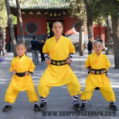 Yellow Color Shaolin Monk Kung fu Uniform Chinese Martial arts Suit Kids & Adults