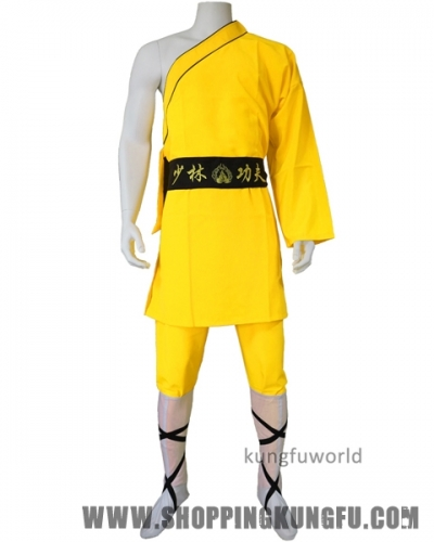 Yellow Color One-sleeve Shaolin Monk Suit Kung fu Martial arts Suit for Kids and Adults