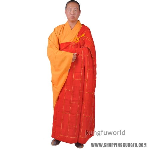 Shaolin Monk Dress Buddhist Kesa Priest Cassock Robe Meditation Kung fu Suit