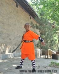 Orange Polyestr Shaolin Kung fu Competition Uniform Martial arts Wushu Suit Full Sizes for Kids Adults